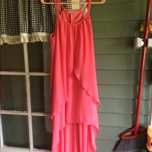 Hi-low pink halter dress